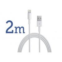 Cablu LUNG (2m) iPhone si iPad lightning USB compatibil cu modelele 5,6,7,8,X,XR,XS,11,12 (C/S/SE/PRO/PLUS/MAX) - transfer date si incarcare rapida, culoare alba