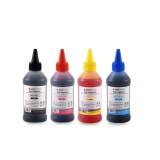 Cerneala universala Agfa Photo - set 4 culori in sticlute de 100ml cu picurator - black cyan magenta yellow (negru albastru rosu galben)