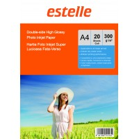 Hartie foto super lucioasa A4 fata-verso (double sided) 300 g / mp - pachet de 20 de coli