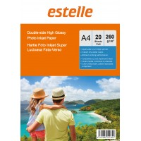 Hartie foto super lucioasa A4 fata-verso (double sided) 260 g / mp - pachet de 20 de coli