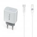 Alimentator incarcator rapid compatibil iPhone lightning 5,6,7,8,X,XR,XS,11,12 (C/S/SE/PRO/PLUS/MAX), fast charge, USB-C, 18W, alb, cu cablu inclus