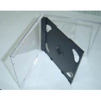 Carcasa CD dubla 10.4mm cu tavita neagra si fata transparenta tip jewel case